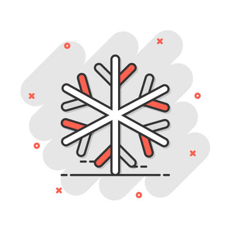 Vector cartoon snowflake icon in comic style. Winter sign illustration pictogram. Snow flake business splash effect concept.