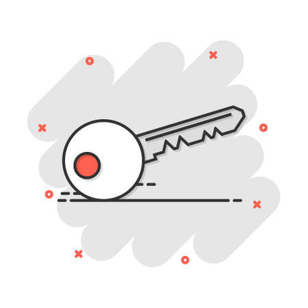 Vector cartoon key icon in comic style. Unlock sign illustration pictogram. Private secure key business splash effect concept.