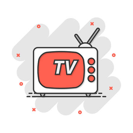 Vector cartoon Tv icon in comic style. Television sign illustration pictogram. Tv business splash effect concept. 矢量图像
