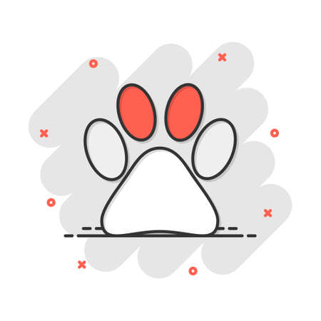 Vector cartoon paw print icon in comic style. Dog, cat, bear paw sign illustration pictogram. Animal foot business splash effect concept.