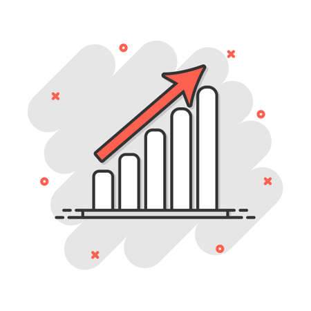 Vector cartoon business graph icon in comic style. Chart sign illustration pictogram. Diagram business splash effect concept. 矢量图像