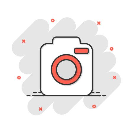 Vector cartoon photo camera icon in comic style. Photographer cam sign illustration pictogram. Camera business splash effect concept.
