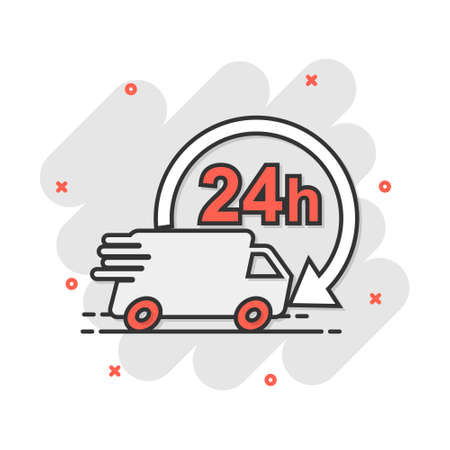 Vector cartoon delivery truck 24h icon in comic style. 24 hours fast delivery service shipping sign illustration pictogram. Car van business splash effect concept. 矢量图像