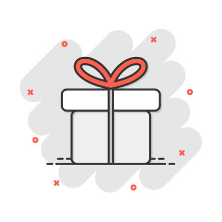 Vector cartoon gift box icon in comic style. Gift present sign illustration pictogram. Box business splash effect concept. 免版税图像 - 164788618