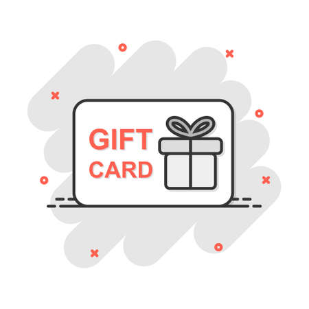 Vector cartoon gift card icon in comic style. Gift present sign illustration pictogram. Discount coupon business splash effect concept.
