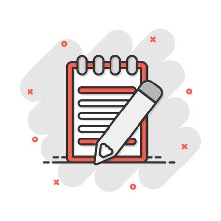 Vector cartoon document with pencil icon in comic style. Note with pen sign illustration pictogram. Notebook business splash effect concept.
