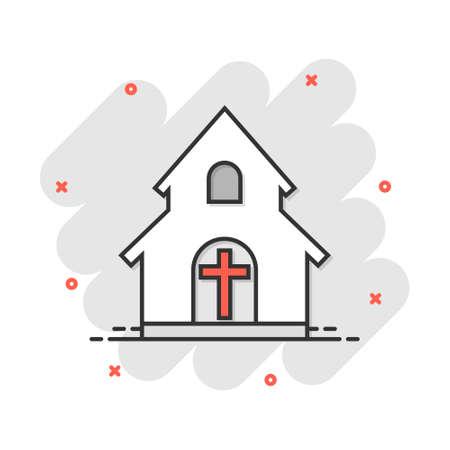 Vector cartoon church sanctuary icon in comic style. Chapel sign illustration pictogram. Church business splash effect concept.