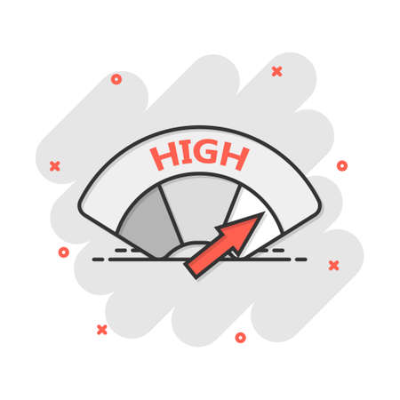Cartoon high level icon in comic style. Speedometer, tachometer sign illustration pictogram. Max level splash business concept.
