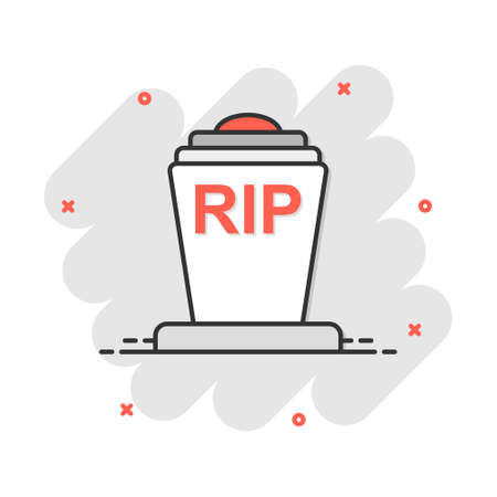 Vector cartoon halloween grave icon in comic style. Gravestone sign illustration pictogram. Rip business splash effect concept.