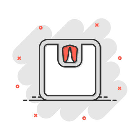 Vector cartoon bathroom scale weigher icon in comic style. Weigher sign illustration pictogram. Balance business splash effect concept.