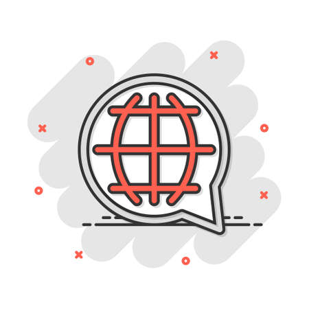 Vector cartoon choose or change language icon in comic style. Globe world communication sign illustration pictogram. World business splash effect concept.  イラスト・ベクター素材