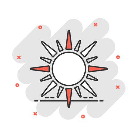 Vector cartoon sun icon in comic style. Summer sunshine concept illustration pictogram. Sun business splash effect concept.