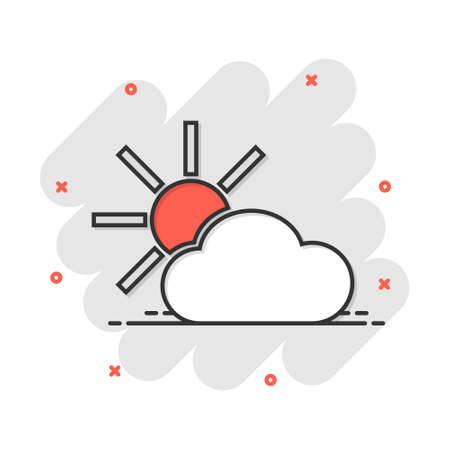 Vector cartoon weather forecast icon in comic style. Sun with clouds concept illustration pictogram. Cloud business splash effect concept.  イラスト・ベクター素材