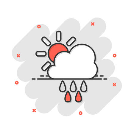 Vector cartoon weather forecast icon in comic style. Sun with clouds concept illustration pictogram. Cloud with rain business splash effect concept.  イラスト・ベクター素材