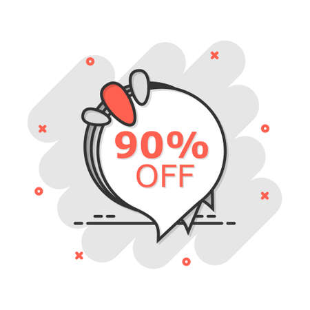 Vector cartoon sale 90% banner icon in comic style. Badge shopping illustration pictogram. Discount price tag business splash effect concept.