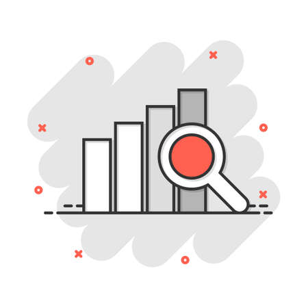 Vector cartoon financial forecast icon in comic style. Analytics financial forecast concept illustration pictogram. Diagram with loupe business splash effect concept.