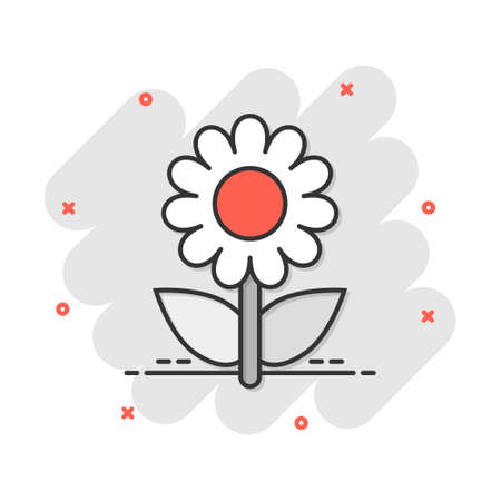 Vector cartoon chamomile flower icon in comic style. Daisy concept illustration pictogram. Camomile business splash effect concept.