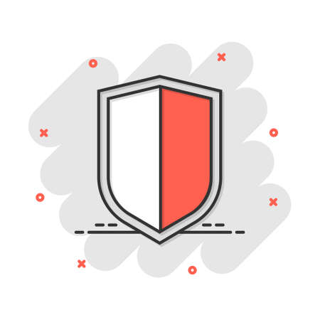 Vector cartoon shield protect icon in comic style. Defence sign illustration pictogram. Protection business splash effect concept.