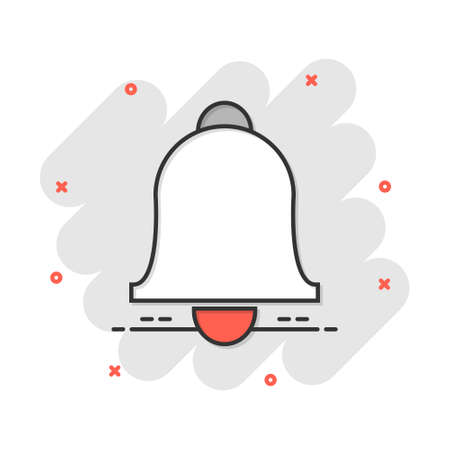 Vector cartoon bell icon in comic style. Alarm bell concept illustration pictogram. Handbell business splash effect concept.