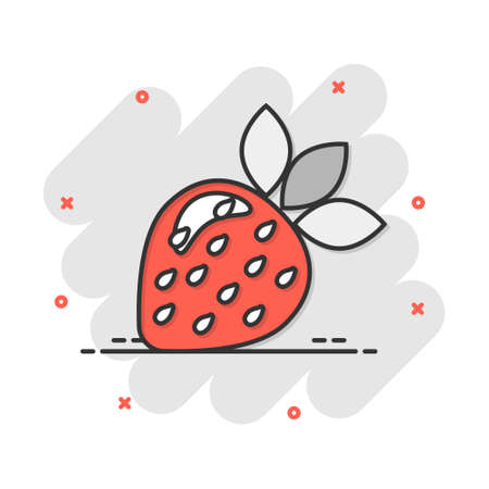 Vector cartoon strawberry fruit icon in comic style. Ripe berry sign illustration pictogram. Strawberry business splash effect concept.  イラスト・ベクター素材