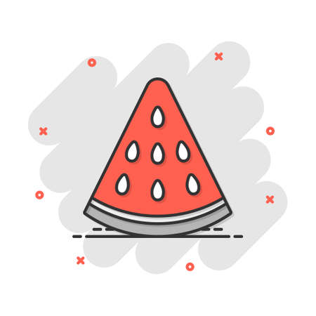 Vector cartoon watermelon fruit icon in comic style. Ripe berry sign illustration pictogram. Watermelon business splash effect concept.