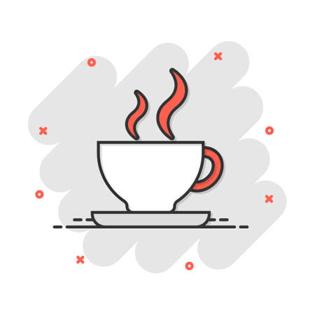 Vector cartoon coffee cup icon in comic style. Tea mug sign illustration pictogram. Coffee business splash effect concept.  イラスト・ベクター素材