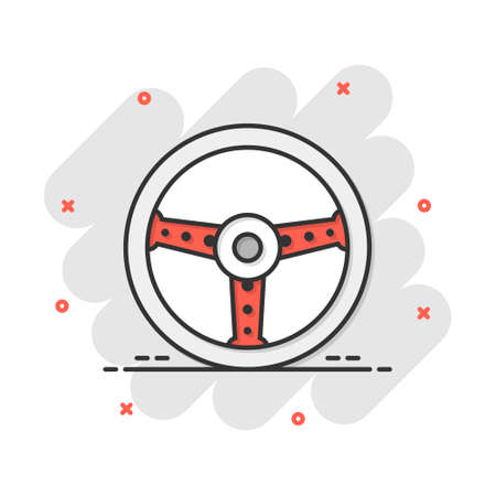 Vector cartoon steering wheel icon in comic style. Rudder wheel sign illustration pictogram. Steering business splash effect concept.
