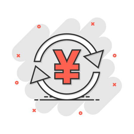 Vector cartoon yen, yuan money currency icon in comic style. Yen coin concept illustration pictogram. Asia money business splash effect concept. 向量圖像