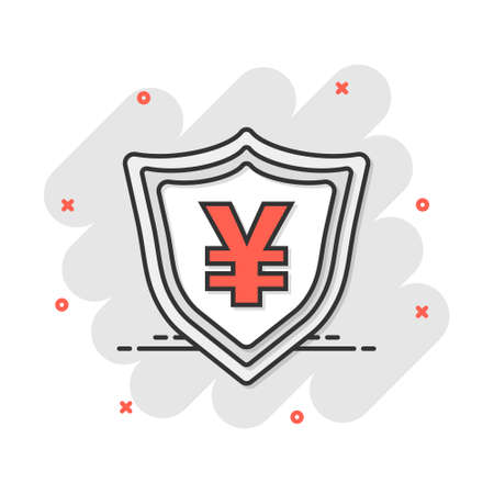 Vector cartoon yen, yuan shield money currency icon in comic style. Yen coin protection concept illustration pictogram. Asia money business splash effect concept.