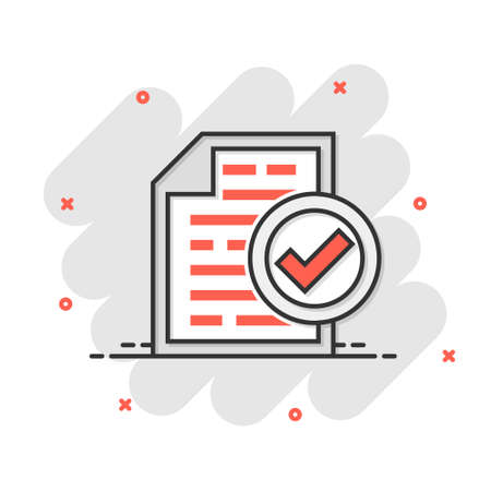 Compliance document icon in comic style. Approved process vector cartoon illustration on white isolated background. Checkmark business concept splash effect.