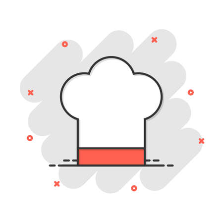 Chef hat icon in comic style. Cooker cap vector cartoon illustration pictogram. Chef restaurant business concept splash effect.
