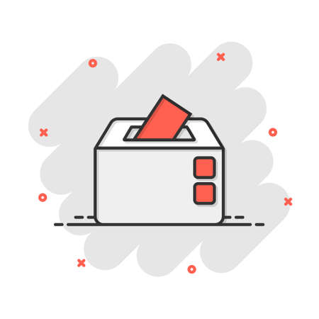Election voter box icon in comic style. Ballot suggestion vector cartoon illustration pictogram. Election vote business concept splash effect.