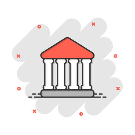 Bank building icon in comic style. Government architecture vector cartoon illustration pictogram. Museum exterior business concept splash effect. 矢量图像