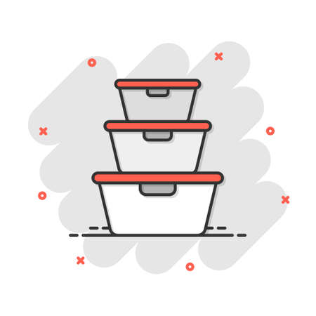 Food container icon in comic style. Kitchen bowl vector cartoon illustration pictogram. Plastic container box business concept splash effect. 矢量图像