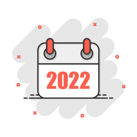 Calendar 2022 organizer icon in comic style. Appointment event vector cartoon illustration on white isolated background. Month deadline business concept splash effect. 矢量图像