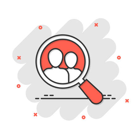 Search job vacancy icon in comic style. Loupe career vector cartoon illustration on white isolated background. Find vacancy business concept splash effect. Çizim