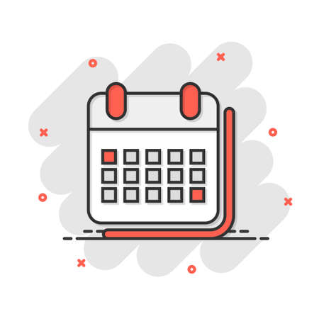 Calendar organizer icon in comic style. Appointment event vector cartoon illustration on white isolated background. Month deadline business concept splash effect. 矢量图像