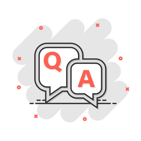 Question and answer icon in comic style. Discussion speech bubble vector cartoon illustration pictogram. Question, answer business concept splash effect. Çizim