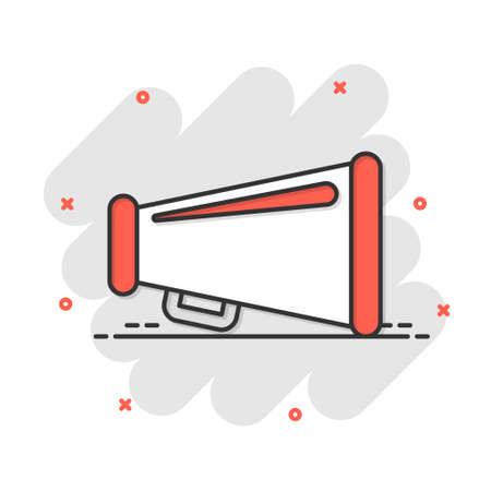 Megaphone speaker icon in comic style. Bullhorn audio announcement vector cartoon illustration pictogram. Megaphone broadcasting business concept splash effect.