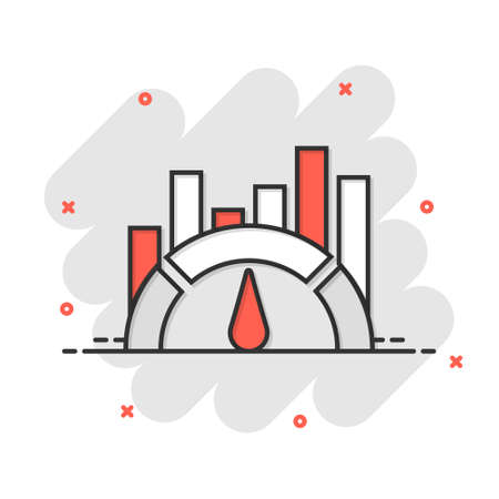 Benchmark measure icon in comic style. Dashboard rating vector cartoon illustration on white isolated background. Progress service business concept splash effect. 矢量图像