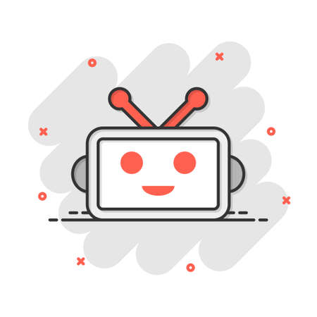 Cute robot chatbot icon in comic style. Bot operator vector cartoon illustration pictogram. Smart chatbot character business concept splash effect.