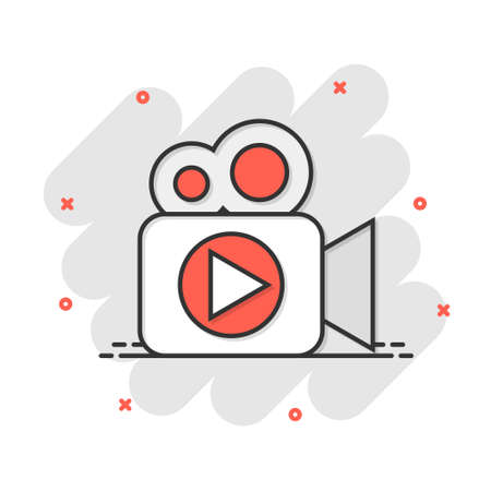 Video camera icon in comic style. Movie play vector cartoon illustration pictogram. Video streaming business concept splash effect.