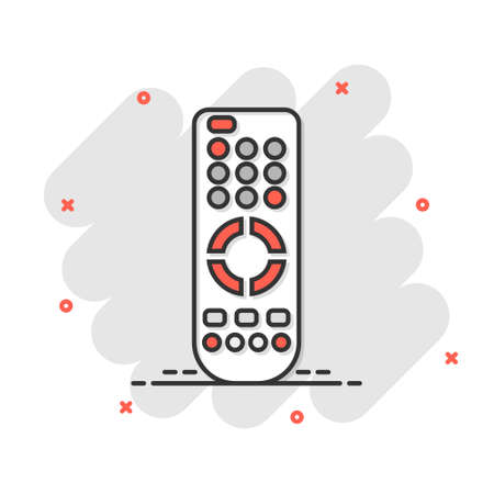 Remote control icon in comic style. Infrared controller vector cartoon illustration on white isolated background. Tv keypad business concept splash effect.