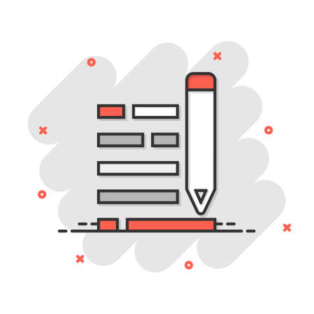 Pencil notepad icon in comic style. Document write vector cartoon illustration on white isolated background. Pen drawing business concept splash effect. Çizim