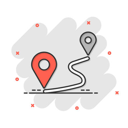 Distance pin icon in comic style. Gps navigation vector cartoon illustration on white isolated background. Communication travel business concept splash effect. 矢量图像