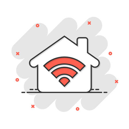 Smart home icon in comic style. House control vector cartoon illustration pictogram. Smart home business concept splash effect. 矢量图像