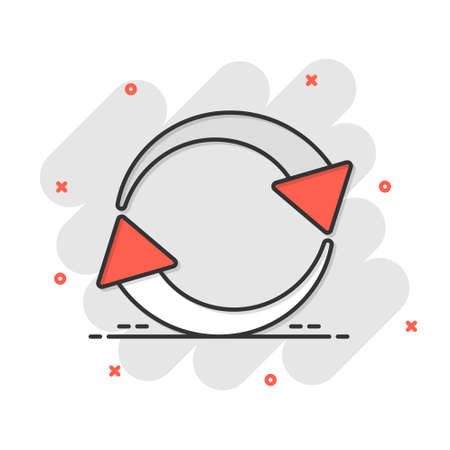 Arrow rotation icon in comic style. Sync action vector cartoon illustration on white isolated background. Refresh button business concept splash effect. Çizim