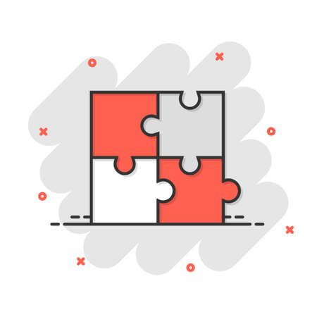 Puzzle compatible icon in comic style. Jigsaw agreement vector cartoon illustration on white isolated background. Cooperation solution business concept splash effect.