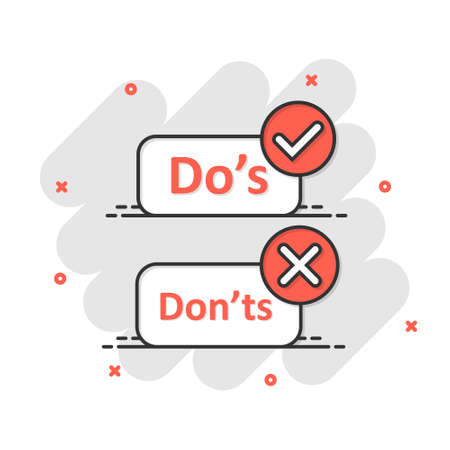 Do's and don'ts sign icon in comic style. Like, unlike vector cartoon illustration. Yes, no business splash effect concept.