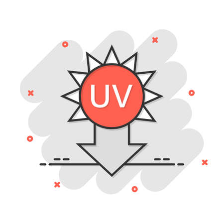 UV radiation icon in comic style. Ultraviolet cartoon vector illustration on white isolated background. Solar protection splash effect business concept.